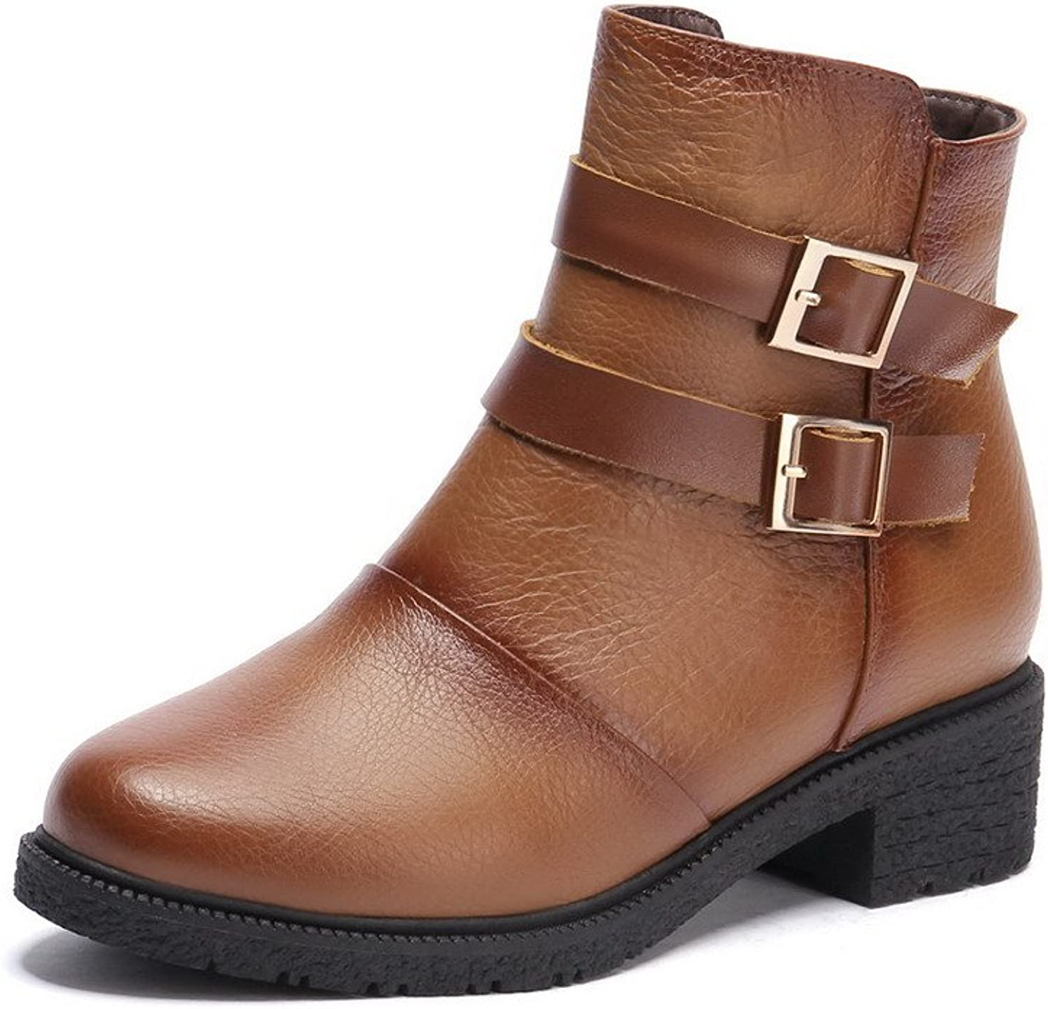 AmoonyFashion Women's Round-Toe Closed-Toe Low-Heels Boots with Rough Heels and Double Breasted