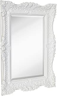 Hamilton Hills Large Ornate White Gloss Baroque Frame Mirror | Aged Luxury | Elegant Rectangle Wall Piece | Vanity, Bedroom, or Bathroom | Hangs Horizontal or Vertical | 100% (30