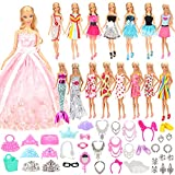 Miunana 55 Items For Barbie Dolls = 15 Fashion Clothes Dresses + 40 Accessories Selected Radomly