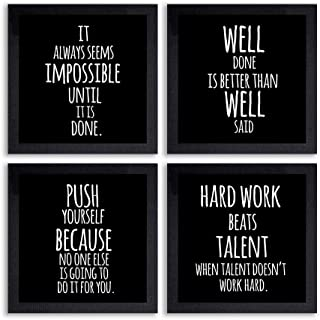 PnF® Set of 4 Motivational QUOTES-027-(28x28inch,Synthetic,Multicolour)