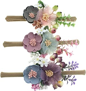 Baby Girl Nylon Floral Bows Headbands Flower Crown Elastic Hair Band for Newborn Infant Toddler Pack of 3 by JIAHANG