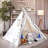 FunHike Kids Teepee Tent for Girls and Boys - Large Teepee Play Tent for Indoor and Outdoor Play – 5 Poles Tipee Tent for Kids with Carry Bag