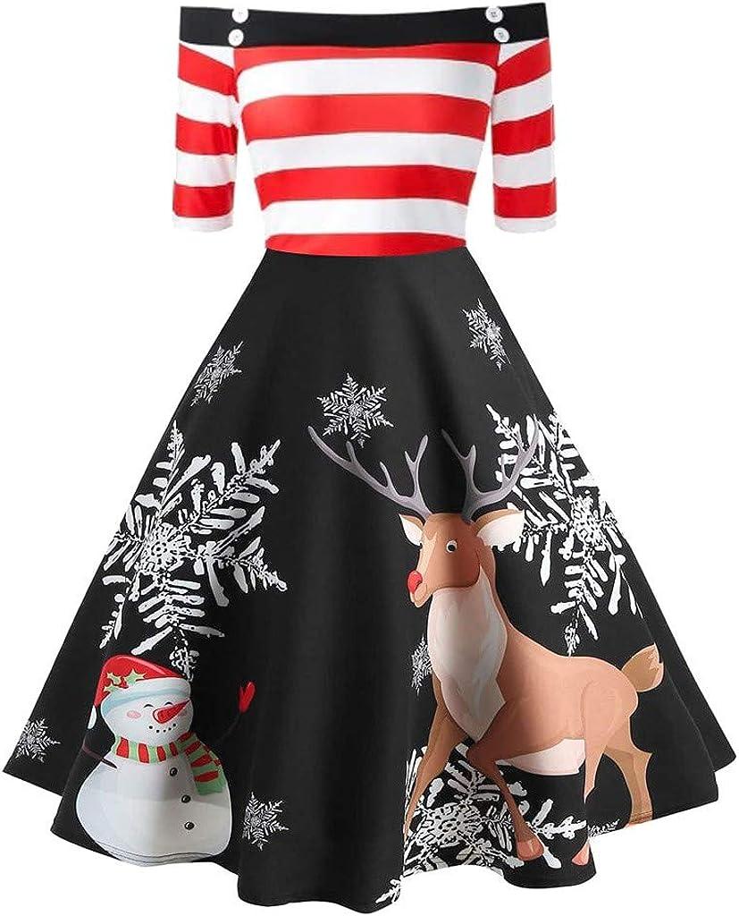 iLUGU Christmas Dresses Manufacturer regenerated product for Women Seasonal Wrap Introduction Off Print Swin A Line Shoulder