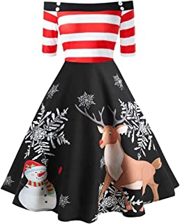 COOKI Christmas Vintage Dresses Women's Long Sleeve Off Shoulder Print Cocktail A Line Flare Dress Xmas Party Swing Dress
