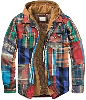 Camisa Térmica para Hombre,Abrigo Chaqueta de Algodón de Invierno Camisa de Manga Larga a Cuadros con Capucha Camisa de le...