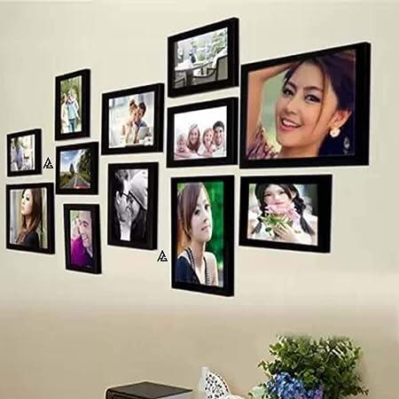 AG Crafts Wood Wall Photo Frame (Black, 12 Photos)