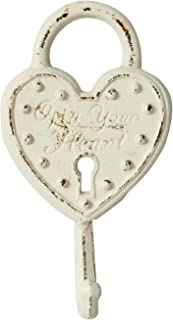 Stonebriar Antique Worn White Cast Iron Heart Lock Wall Hook, Shabby Chic Home Decor, Decorative Wall Hook for Entryway, Bathroom, Bedroom, Kids Room, and More