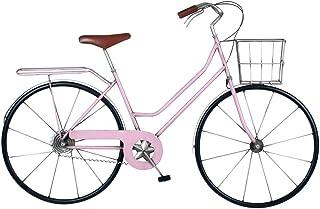 CAPRILO. Adorno de Pared Decorativo de Metal Bicicleta Rosa Vintage. Cuadros y Apliques. Vehículos. Muebles Auxiliares. Re...