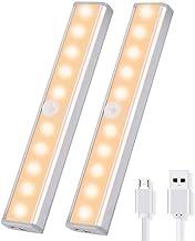 KH Under Cabinet Lighting, 10 Led Closet Lights Motion Sensor Indoor Wireless USB Rechargeable Battery for Cupboard/Wardro...