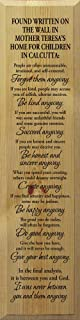 Sawdust City Mother Teresa Wall Art - Do it Anyway. (Butternut)