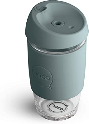 JOCO 16 oz Glass Reusable Utility Cup with Lid (Bluestone)