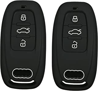 2Pcs Coolbestda Rubber 3 Buttons Smart Key Fob Remote Cover Case Protector Keyless Jacket for Audi A1 A3 A4 A5 A6 A7 A8 Q5 Q7 R8 S5 S7 Q5 RS (Insert key to ignition NOT FIT)