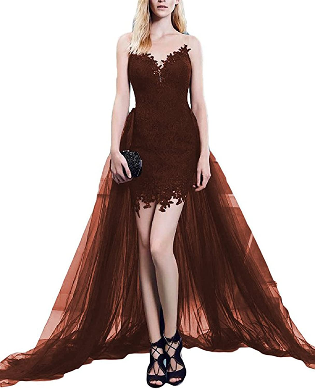 HerDress Women's 2018 Lace Prom Dress Formal Cocktail Evening Gowns with Detachable Train