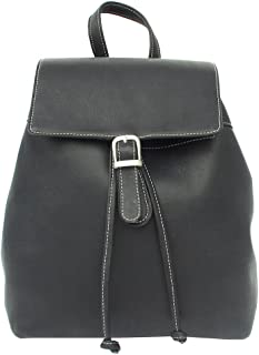 Piel Leather Top Flap Drawstring Backpack, Black, One Size