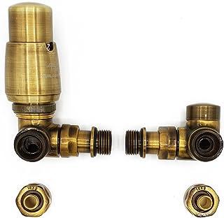 Izquierda Versión con Accesorios PEX Latón Antiguo Termostático + Lockshield Angular Conjunto de Válvulas Radiador Doble Tubo