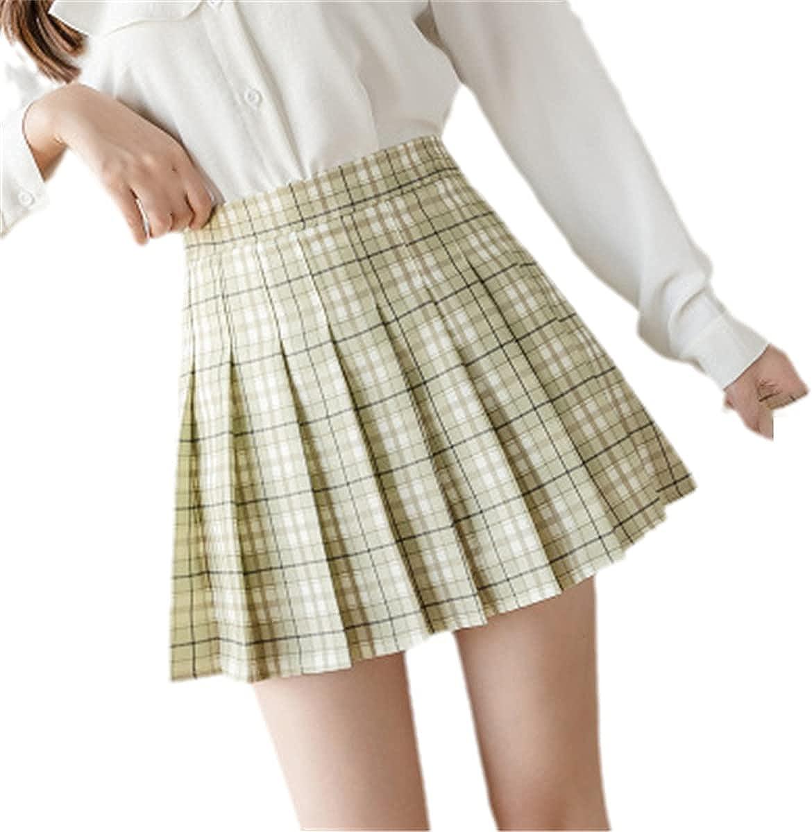 Japanese and Korean Short Skirt high Waist Mini Ladies Skirt Kawaii Pink Plaid Pleated Tennis Casual Skirt