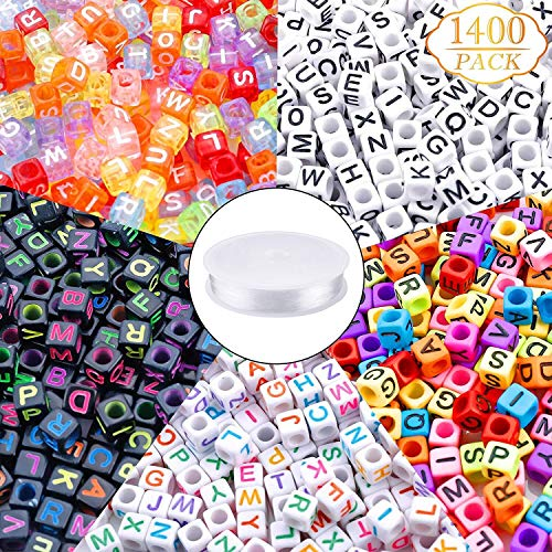 1400pcs 5 Color Acrylic Alphabet Cube Beads Letter Beads with 1 Roll 50M Crystal String Cord for Jewelry Making6mm