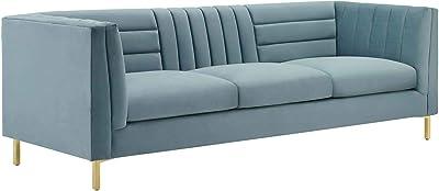 Modway Ingenuity Channel Tufted Performance Velvet Sofa, Light Blue