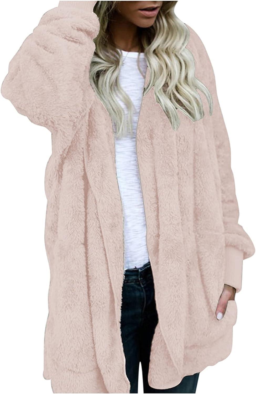 ManxiVoo Women's Fuzzy Fleece Hooded Open Front Long Cardigan Coat Plus Size Warm Winter Outwear Jackets
