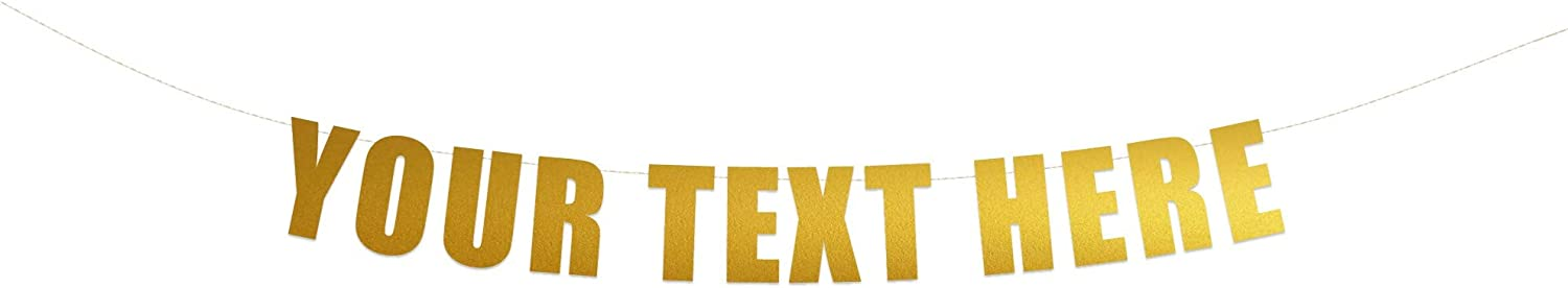 Your Text Here banner - Funny Rude Customize Your Party Banner Signs | Custom Text/Phrase Banner | Make Your Own Banner Sign | StringItBanners (Gold Metallic)