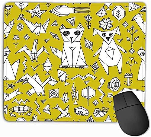 N/A Mouse Pad Naadloos Patroon Hond Vos Vis Vogels Zee Dieren Planten Zwarte Omtrek Mosterd Gele Achtergrond Doodle Decoratief 25 * 30Cm