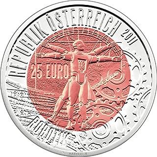 2011 AT Austrian Mint Silver Niobium Coin Series: Robotik - Sold Out at Mint Silver-Niobium 25 Euro Brilliant Uncirculated