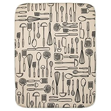 InterDesign 40410 iDry Absorbent Kitchen Countertop Dish Drying Mat - 24  X 18 , Extra Large, Wheat/Ivory iDry Kitchen Mat Utensils- Xlarge 24  X 18