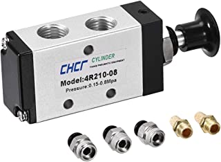 uxcell 2 Position 5 Way 1/4 inches PT,Manual Hand Pull Push Solenoid Valve,Pneumatic Air Hand Lever Operated Valve,with 6mm OD Connect Fitting and Brass Exhaust Muffler