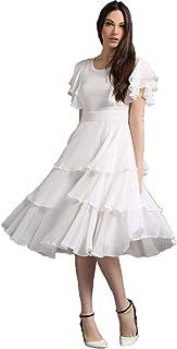 QUEEN ELLIE Women's Western Ruffle midi Georgette White Party Dress