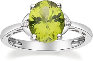 Gin & Grace 10K White Gold Genuine Peridot Diamond (SI1) Statement Ring (Size 7) for Women Mother's Day Jewelry Gifts