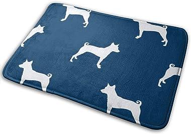 Basenji Silhouette Dog Navy_24493 Doormat Entrance Mat Floor Mat Rug Indoor/Outdoor/Front Door/Bathroom Mats Rubber Non Slip