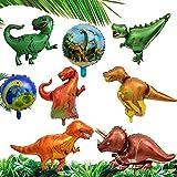 Juego de 8 globos de dinosaurio, globo gigante de papel de dinosaurio de la jungla para de niña niño, globos de helio animales de la selva para 1-2-3 -5-6-7-8-9-10 años decoración fiesta de cumpleaños