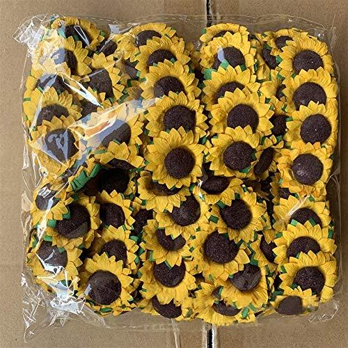 Without brand XXF-jh, Artificial Sunflower Blumen for Geschenk-Box DIY Dekorpapier Blumen Scrapbooking Fertigkeit Mini Daisy (Farbe : Light Yellow, Größe : 30pcs)