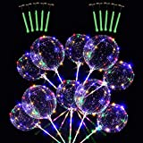 10PCS 51CM Clear LED Light Up BoBo Globos, Globo de burbujas de helio brillante colorido con palos y luces de cadena para la fiesta de cumpleaños de la boda de Navidad