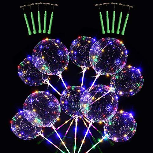 10PCS 51CM Klares LED-Licht BoBo-Luftballons, bunt leuchtender Helium-Luftballon mit Stöcken und Lichterketten für die Weihnachtshochzeits-Geburtstagsfeier