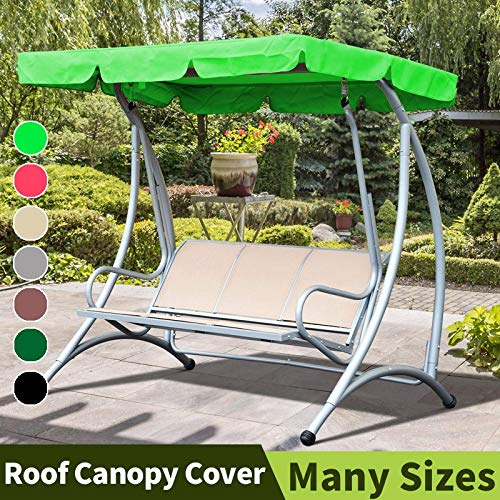 QFWN Garden Swing Canopy Outdoor Swing Canopies Seat Cushion Waterproof Roof Canopy Gazebos Swing Chair Hammock Covers Replacement (Color : Black, Size : 142x120x18cm)