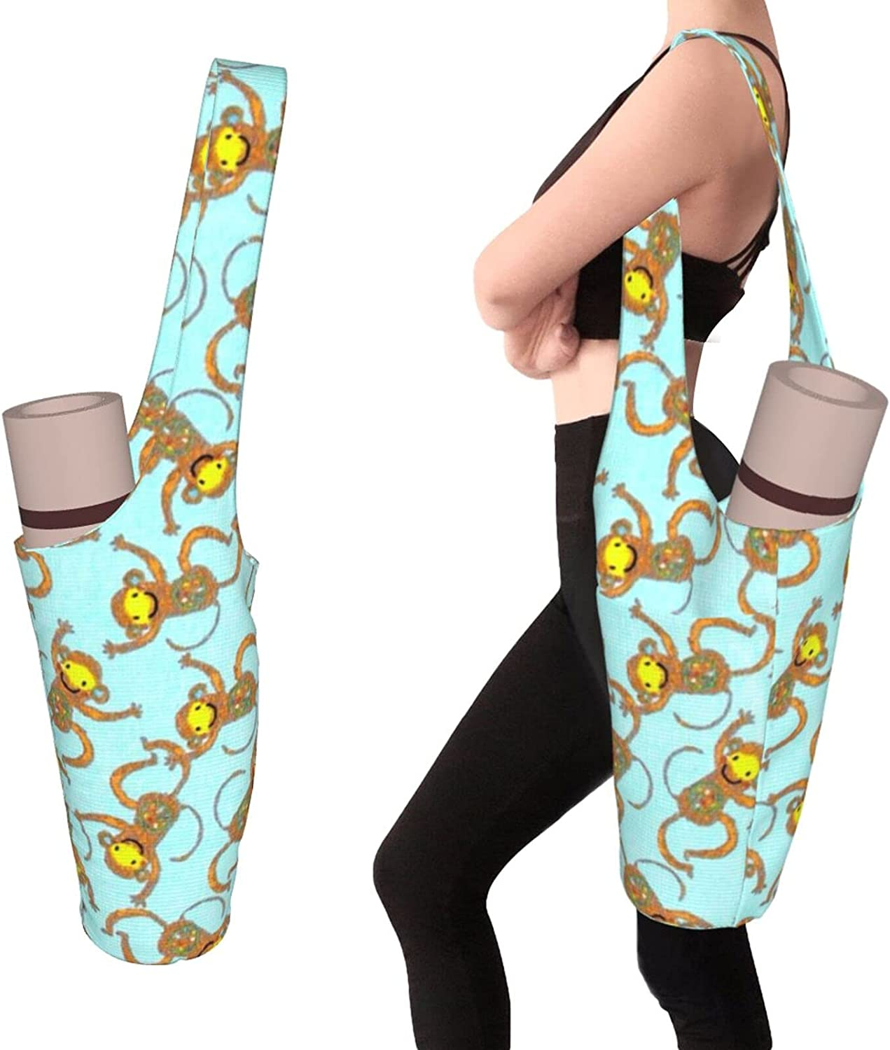 Cute Monkeys Yoga Mat Bag - with Store Zipper and NEW Pocket Large Size Po