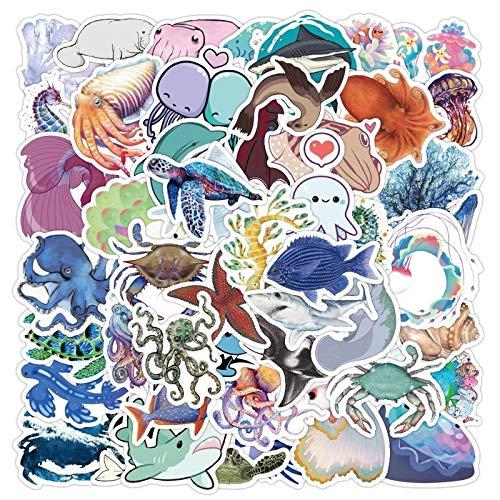 YCYY 50 Uds Pegatina de Animales Marinos para niños de Dibujos Animados Bonitos Medusas tiburón Ballena Pulpo calcomanía Pegatina refrigerador estación de Botella de Agua