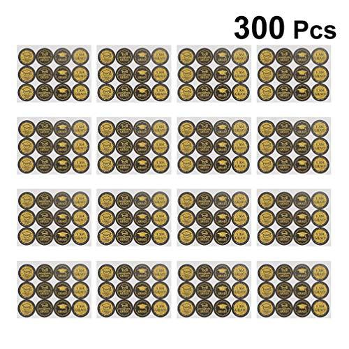 PRETYZOOM Graduatie-etiket Zelfklevende Stickers Afstudeerpartij Favorietiketten Gefeliciteerd Grad Ronde Snoep Chocolade Sticker voor Afstudeerpartij benodigdheden 50 Vellen 3*3CM Afbeelding 2