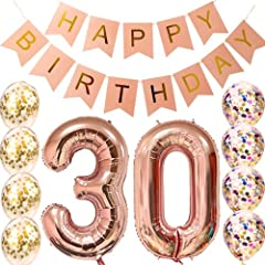 "Finally 30th Birthday - happy birthday bannner and Balloon Birthday Party Decorations - Combo Kit, BUY NOW and Make the thirty Birthday Party Rock ! PACK:40 Inch Rose Gold Foil Balloons ""30"" Set, 8 Inch ""HAPPY BIRTHDAY DAY"" Banner, 8 PCS ""Confetti ba..."
