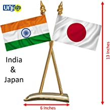 Selling Uniqness UNIq International Countries Miniature Double-Sided Silk Fabric Warp-Knitted Polyester Criss-Cross Classy Brass Base India and Japan Flag Table Stand