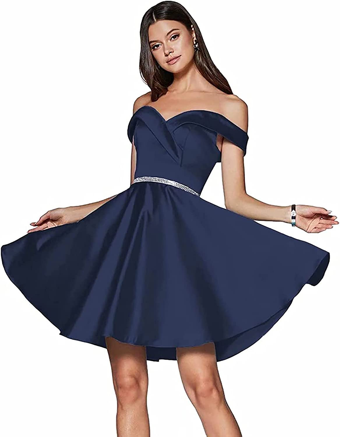 Homecoming Dresses for Teens Short Cocktail Juniors Party Skirt Prom Dress Beaded Belt Mini Off The Shoulder