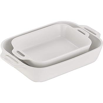 STAUB Ceramics Rectangular Baking Dish Set, 2-piece, Matte White
