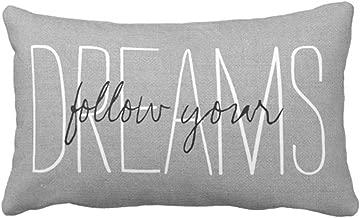 Emvency Throw Pillow Cover Rustic Gray Follow Your Dreams Decorative Pillow Case Monogram Home Decor Rectangle Queen Size 20x30 Inch Cushion Pillowcase