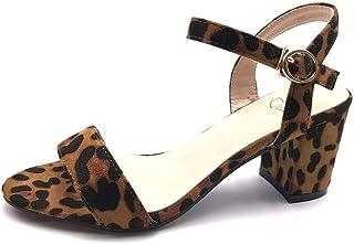 Angkorly - Chaussure Mode Escarpin Sandale Glamour soirée élégant Femme lanière Boucle Simple Basique Talon Bloc 6 CM