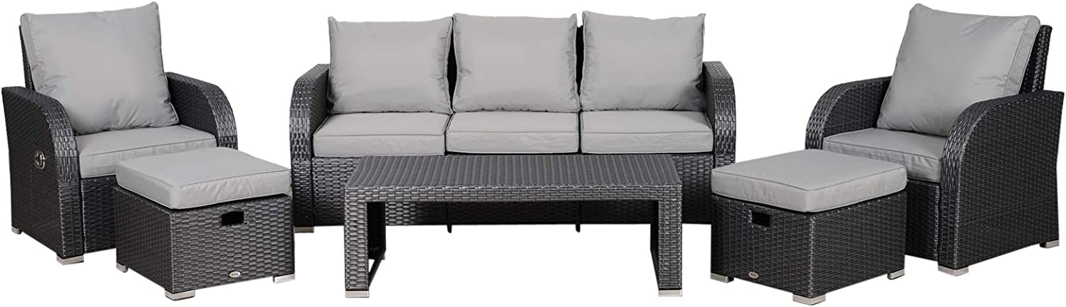 Outsunny 6-Piece Outdoor Rattan 新品 おすすめ Patio Sofa Sectional 3- Set with