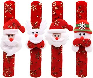 YeahiBaby Marco Papá Noel Muñeco de Nieve Alce Slap Pulsera Copo de Nieve Oro, estantería, para niños, jóvenes, Chicas Adultos Fiesta de Navidad, (Estilo Casual)