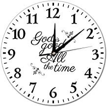 WangYan God is Good All The Time Christian Wall Clocks Non-Ticking Classic Digital Clock Battery Operated Round Easy to Read
