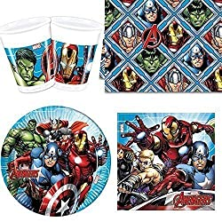 All Inclusive Mighty Avengers Partyware Set for 8 people Contains Plates, Cups, Napkins and Tablecover Featuring Mighty Avengers Characters Excellent Party Pack Designed for 8 people