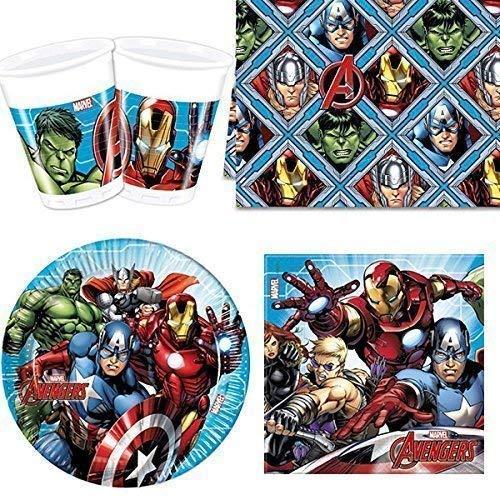 Mighty Avengers- Juego de vajilla para 8 personas, Multicolor (Procos Partyware 17172)